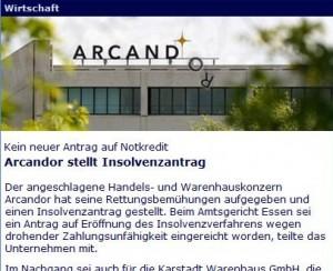 Tagesschau.de - Arcandor Artikel mit neuem Logo?
