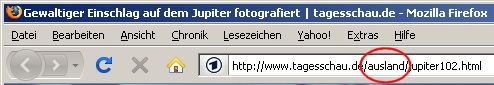 Tagesschau.de – Link zur Meldung zum Einschalg auf dem Jupiter