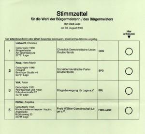 Wahl 2009 Bürgermeister Lage