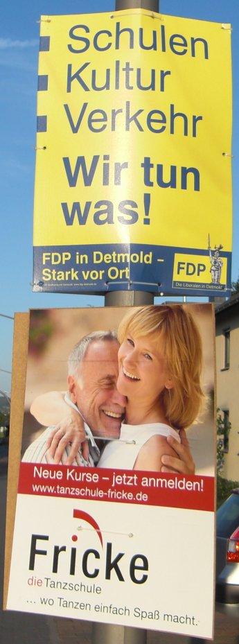 Wahlplakat FDP und Fricke