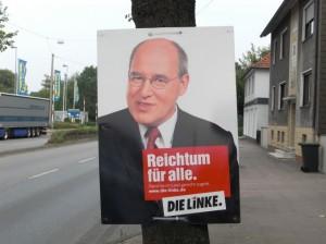"""Wahlplakat Die Linke """"Reichtum für Alle"""""""