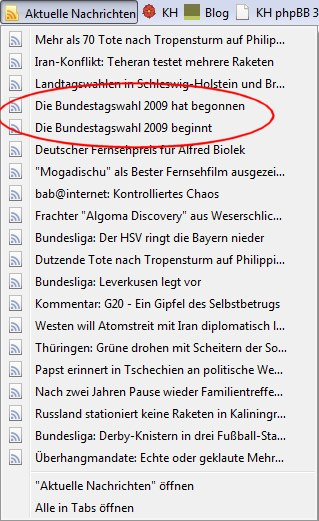 Newsfeed Firefox zur Bundestagswahl
