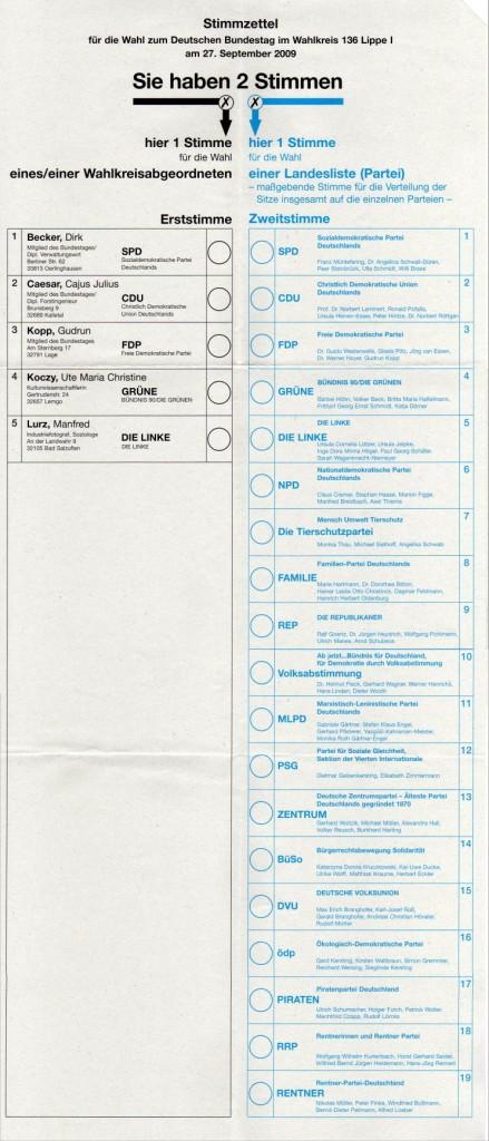 Bundestagswahl 2009 Stimmzettel