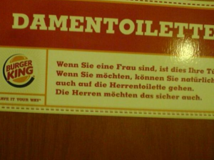 Burger King Toilettenschild