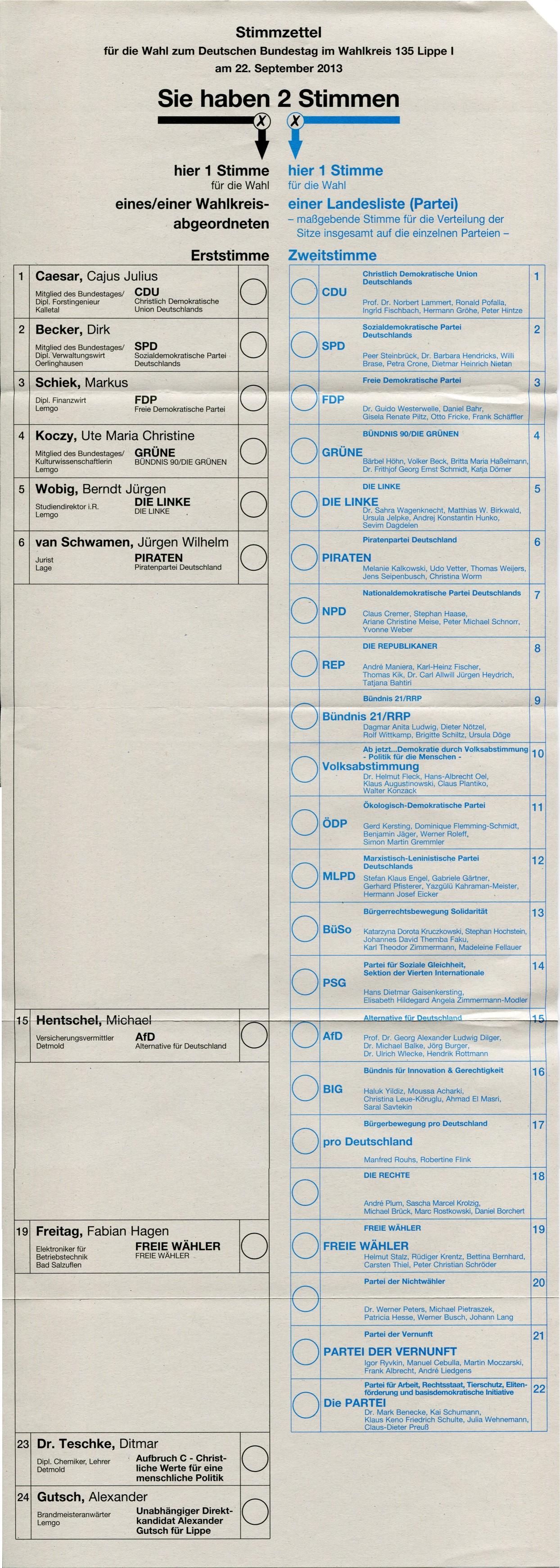 Stimmzettel zur Bundestagswahl 2013 im Wahlkreis 135 - Lippe I