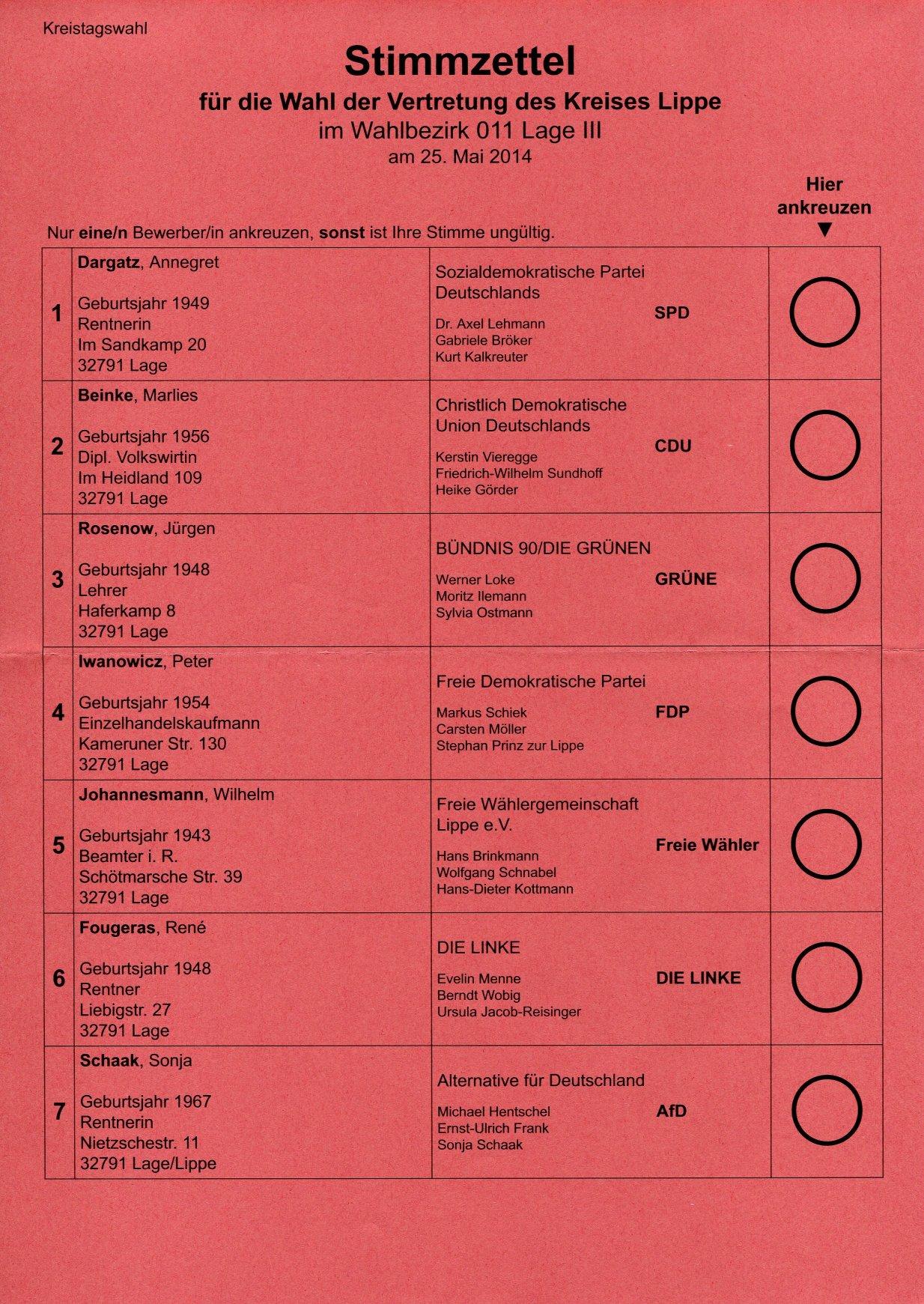 Stimmzettel Kreistagswahl Lippe 2014