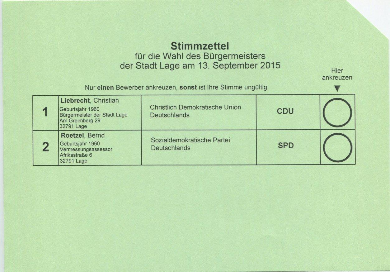 Stimmzettel Wahl zum Bürgermeister von Lage, 2015