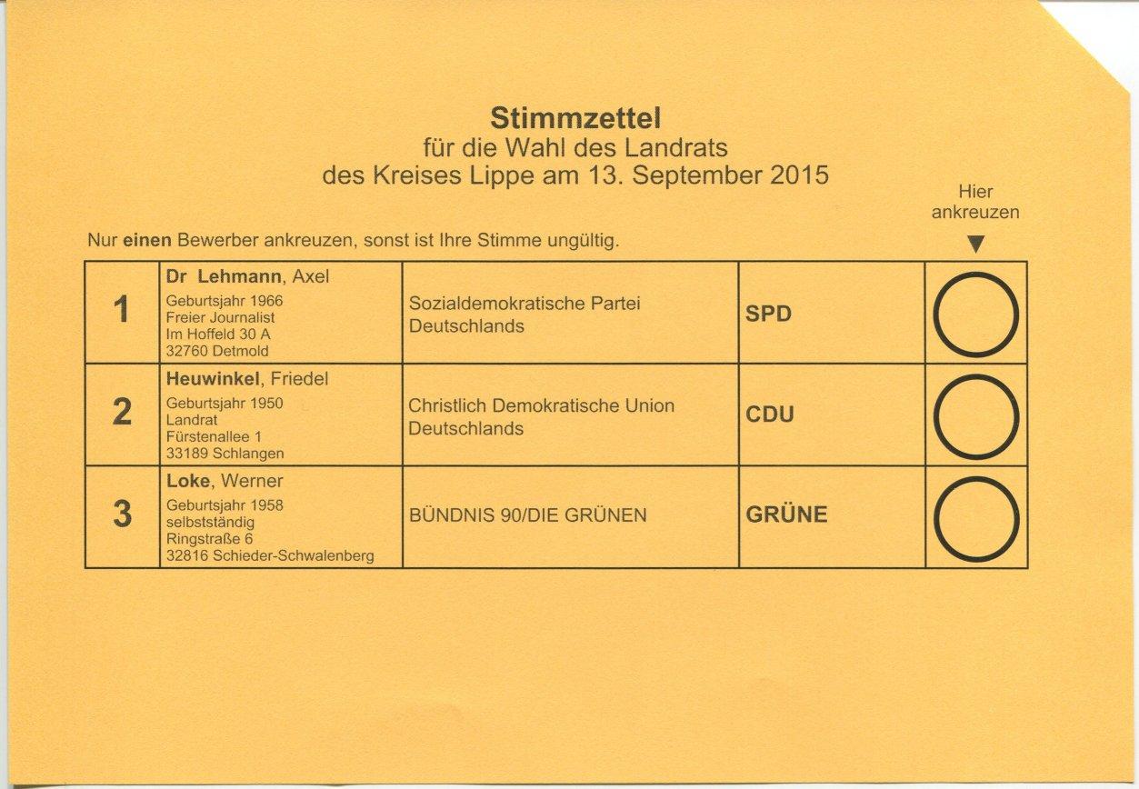 Stimmzettel Wahl zum Landrat für Lippe, 2015