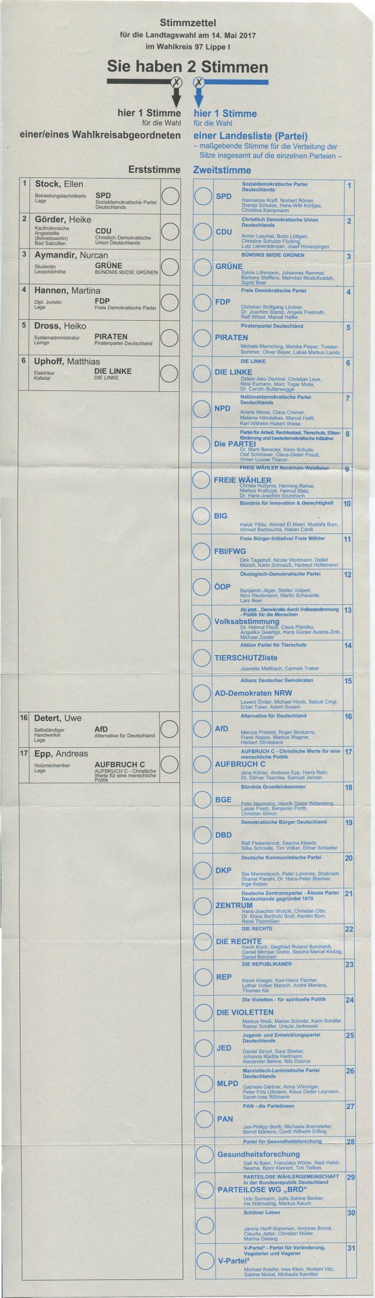Muster Stimmzettel Landtagswahl Nrw